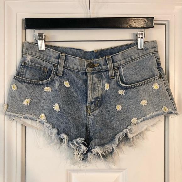 Carmar Pants - LF Carmar Daisy Denim Shorts Floral Jean Cutoffs